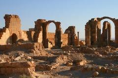 Castle of qasr al-hayr al-sharqi. Ruins of the castle of qasr al-hayr al-sharqi in the syrian desert royalty free stock images
