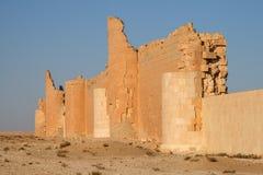 Castle of qasr al-hayr al-sharqi. Ruins of the castle of qasr al-hayr al-sharqi in the syrian desert royalty free stock photography