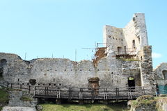 Castle Rabi in reconstruction. Demaged fortification of Castle Rabi covered with scaffolding - reconstruction of historic cultural heritage (Czech Republic Stock Photos