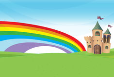A castle and the rainbow Stock Photos