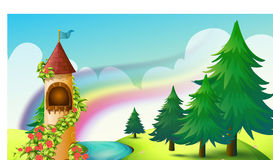 Castle and rainbow Royalty Free Stock Photo