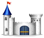 A castle with a red flag. Illustration of a castle with a red flag on a white background Stock Images