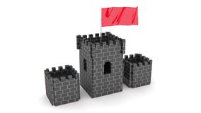 Castle with red flag Royalty Free Stock Image