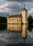 Castle reflected in lake (Horst, Belgium) royalty free stock image