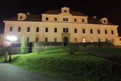 Castle. Renaissance castle evening illuminated lamp Stock Photography