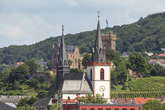 Castle Rheinstein and church Stock Image