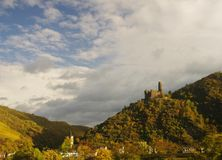 Castle in the Rhine valley. Castle over the Rhine. Rhine valley, Germany, autumn Stock Photo