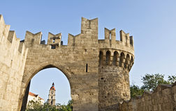 Castle of Rhodes in Greece. St John knights castle at Rhodes island in Greece Royalty Free Stock Photo