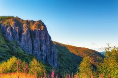 Castle Ridge in Gifford Pinchot National Forest. Morning sun adds warmth to this view of Castle Ridge, near Mt. St. Helens, in the Gifford Pinchot National stock photography