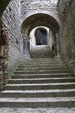 Castle Rising. The stairwell into the castle keep in Castle Rising Norfolk England. Built by William D'Albini around 1140 royalty free stock photo