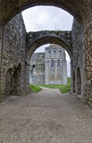 Castle Rising. View of the castle from the gatehouse. Castle Rising Norfolk England. Built in 1140 by William D'Albini stock photos