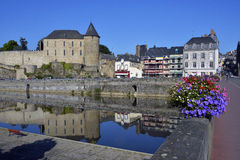 Castle and river of Mayenne in France Stock Photo