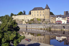 Castle and river of Mayenne in France Royalty Free Stock Photo