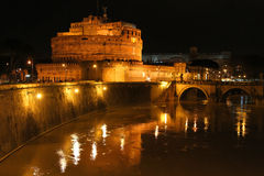 Castle and river by night, in Rome Royalty Free Stock Photo