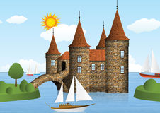 Castle on the river. Vector illustration of castle on the river (Water fort Stock Photo
