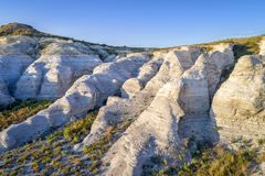 Castle Rock在堪萨斯大草原-鸟瞰图 免版税库存照片