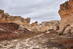 Castle Rock荒地,有被腐蚀的柱子的堪萨斯 库存照片