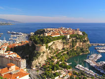 Castle on the rock. Majestic view of the castle in Monaco stock image