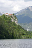 Castle on rock. Castle at lake Bled, Slovenia stock image