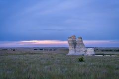 Castle Rock in Kansas prairie Stock Images