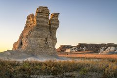 Castle Rock in Kansas prairie Stock Photography