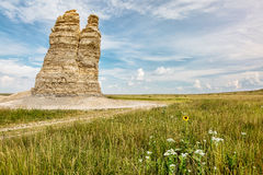 Castle Rock in Kansas prairie Stock Image