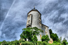 Castle on the rock in Meissen. Castle Albrechtsburg in Meissen near Dresden over Elbe river Royalty Free Stock Photography