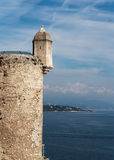 Castle on the rock. In Monaco stock images