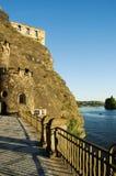 Castle rock and Vltava river stock image