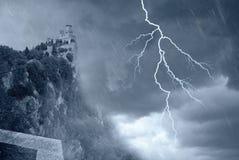 Castle on the rocks. San marino' s tower under the rain Stock Photography