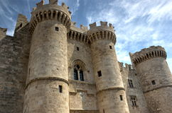 Castle of Rodos. Medieval castle of  the city of Rodos  (island of Rhodes, Greece Royalty Free Stock Images