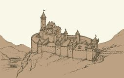 Castle Romanesque style. Vector drawing. Castle Romanesque over mountain gorge. Vector monochrome freehand ink drawn background sketchy in art scribble antiquity Royalty Free Stock Images