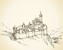 Castle Romanesque style. Vector drawing Royalty Free Stock Photos