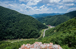 Castle in Romania. Aerial view from ruined Poenari Castle on Mount Cetatea in Romania royalty free stock photography