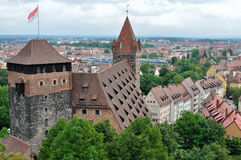 Castle roofs, nurnberg. Aerial view of castle roofs and city center Royalty Free Stock Photo