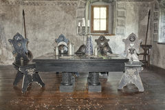 Castle room. Historic castle room with table and chairs royalty free stock photography