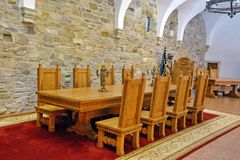 Castle Room. Historic castle room with table and chairs in Transylvania, Romania royalty free stock images
