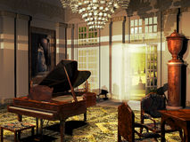 Castle room. Indoor of a castle from the nineteenth century. Room with several chairs and desks and a piano in its center. Door opened on gardens Stock Photography