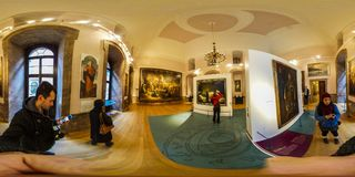 Castle rooms in Zamek Ksiaz, Walbrzych Poland. KSIAZ, POLAND - January, 2018: Castle in Ksiaz near Walbrzych. The interior of the historic fortress view in 360 Stock Images