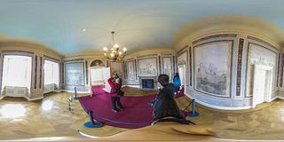 Castle rooms in Zamek Ksiaz, Walbrzych Poland. KSIAZ, POLAND - January, 2018: Castle in Ksiaz near Walbrzych. The interior of the historic fortress view in 360 Royalty Free Stock Image