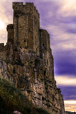 Castle of roseto on the rocks at sunset Royalty Free Stock Image