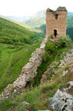 Castle ruin. Stronghold ruin on hill top made of stones. image taken on bright summer day.in background forest. The tower ruin is in focus Royalty Free Stock Photo