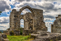 Castle Ruin Altenstein. Bavarian Castle Ruin Altenstein in german Franconia. Medieval Romantic Ruins of Germany. Cloudy Blue Summer Sky. Old stone Building Royalty Free Stock Image