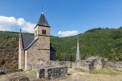 Free Castle Ruin And Church Tower Village Esch-sur-Sure In Luxembourg Stock Photography - 150503442