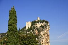 Castle ruin of Arco. The castle ruin of Arco, on a steep cliff, near Lake Garda, Trentino province, Italy Royalty Free Stock Image