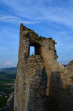 Castle ruin. With blue sky behind stock photos