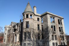 The Castle Ruin Detroit, Michigan. A picture an old house in Detroit, Michigan that resembles a medieval castle that has been left as an abandoned ruin for many Stock Photos