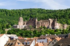 Castle ruin in Heidelberg at blue sky royalty free stock photography