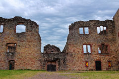 Medieval castle ruin courtyard. In the courtyard of a castle ruin. Medieval architecture in Germany Stock Photo