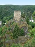 Castle ruin near Esch-sur-Sure. Ruin in front of a city named Esch-sur-Sure in Luxembourg at summer time Royalty Free Stock Photography